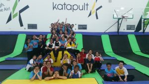 Dancers enjoying their time with the trampolines